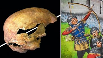 آثار اختراق سهم لجمجمة مقاتل من العصور الوسطى